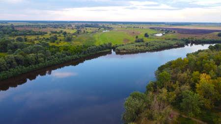 View of the Desna River near the city of Chernigov The Desna River originates in Russia and flows into the Dnieper near Kiev. Standard-Bild - 155585103