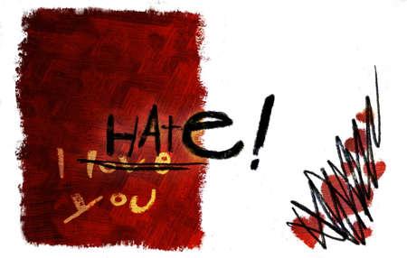 I love you card turned to I hate you (hand drawn - raster) photo