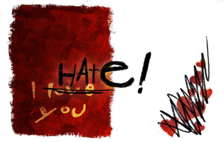 I love you card turned to I hate you (hand drawn - raster)