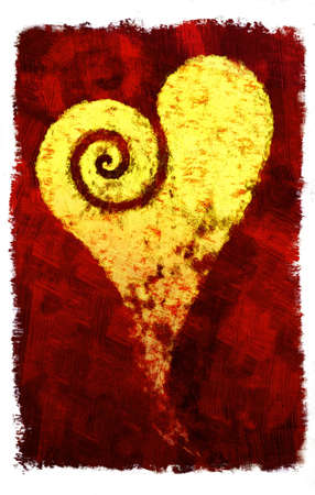 valentino: Golden heart with spiral on red background (hand drawn - raster) Stock Photo