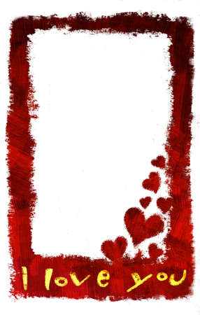 I love you vertical card with little hearts on a corner (hand drawn - raster) Stock Photo