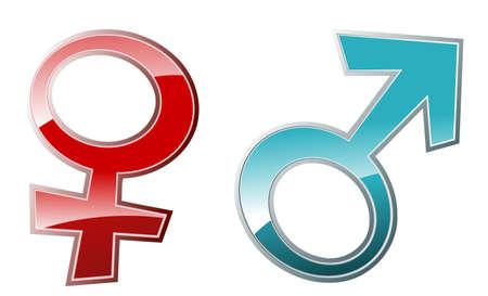 man vrouw symbool: Vector glossy illustratie van mannelijke en vrouwelijke symbolen Stock Illustratie