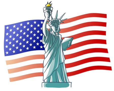 Statue of Liberty and USA flag Vector