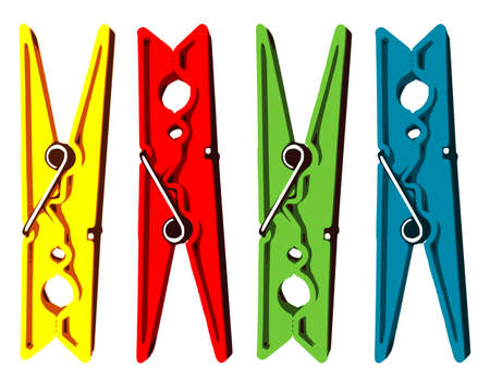 clothespeg: Vector Illustration: Four coloured clothes pegs Illustration