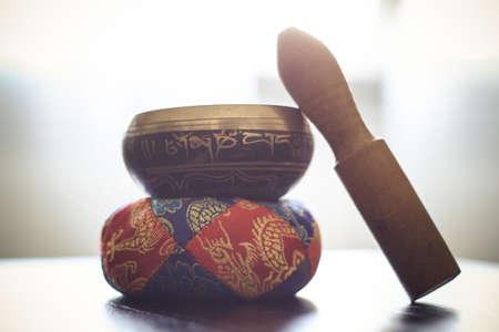 singing bells: Closeup of a tibetan bell on a table
