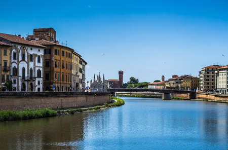 Pisa panorama on the Arno River. Pisa, Italy
