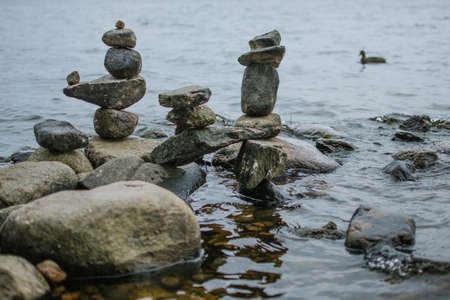 Balancing rocks and a duck