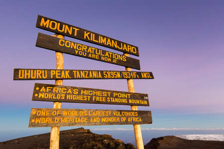 Uhuru Peak highest summit on Mount Kilimanjaro in Tanzania, Africa.