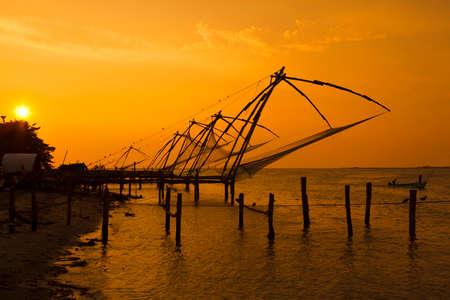 chinese fishing nets: Chinese fishing nets in Fort Cochin Kerala. India.