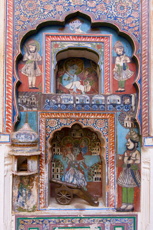 frescoed: Frescos in a Haveli in Dundlod, Shekhawati in India.