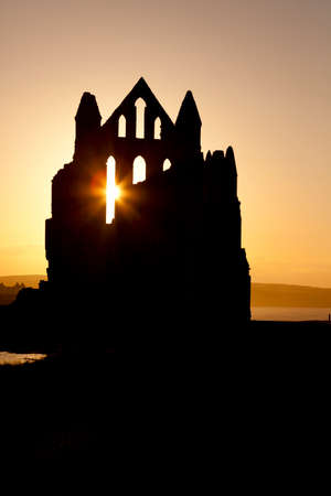 north yorkshire: Sunset shilouette of Whitby Abbey in North Yorkshire. England.