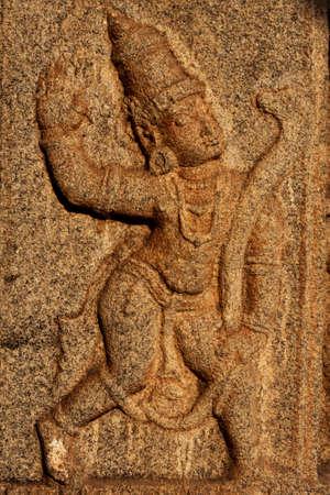 past civilization: Stone relief carving, Hampi, India Stock Photo