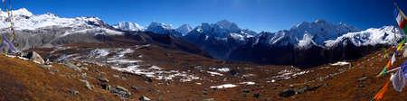 deg: 180 deg panorama from Tsergo Ri Langtang Valley , Nepal Stock Photo