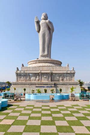 hyderabad: Buddha statue in the Hussain Sagar, Hyderabad in India