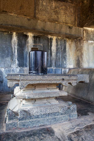 linga: Stone linga at Warangal Fort in Andhra Pradesh, India Stock Photo