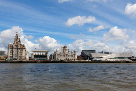 mersey: Liverpool from the ferry across the River Mersey. England.