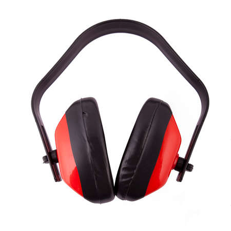 defenders: Ear defenders, white background. Stock Photo
