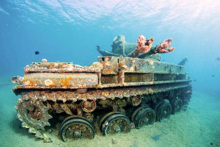 Sunken wreck of a tank in Aqaba, Red Sea, Jordan. Stock Photo