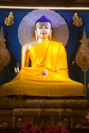 bodhgaya: Buddha image inside Mahabodhi Temple, Bodhgaya, Bihar, India. Stock Photo