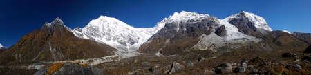 lofty: Panorama of Langtang Lirung and Kimshun mountains and glaciers in Nepal