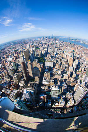New York City Manhattan skyline aerial view with skyscrapers and Hudson. America. Fisheye Lens. Stock Photo