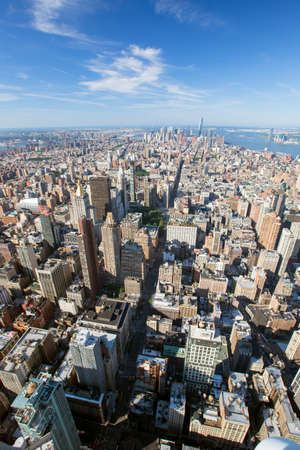 New York City Manhattan skyline aerial view with skyscrapers and Hudson. America. Stock Photo