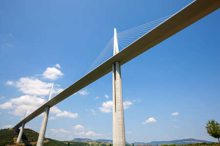 millau: Millau Viaduct, the tallest cable-stayed bridge over the Tarn valley in France. Editorial
