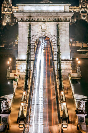 the chain bridge: Road and arc architectural of Chain Bridge, Hungary, Budapest