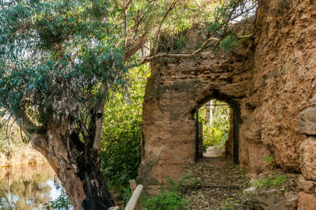 castle if: Door in the medieval rampart of stone That surrounds the village of Mist, in the province of Huelva, Spain