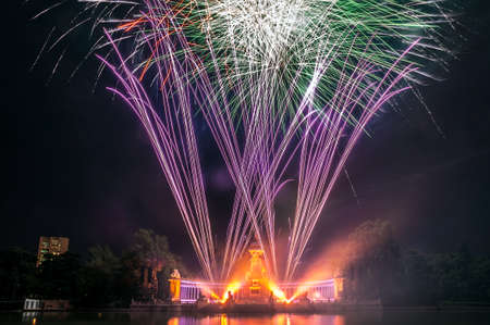isidro: Fireworks by night in the main source of the Buen Retiro Park, Madrid, During the celebration of San Isidro holidays in Madrid, the capital city of Spain