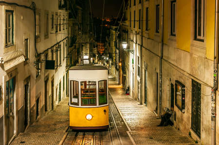 bica: Night view of The Bica Funicular, in the old town of Lisbon, the capital of Portugal
