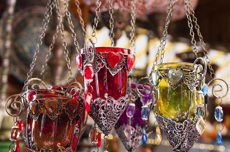 Colourful Turkish glass candlelight holders in a bazaar