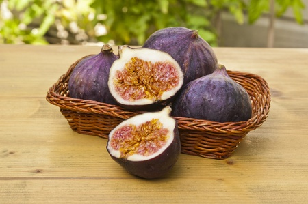 Fresh figs halved on a basket