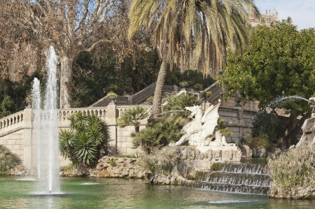 Fountain, stairs, lake and cascade in Parc de la Ciutadella, Barcelona