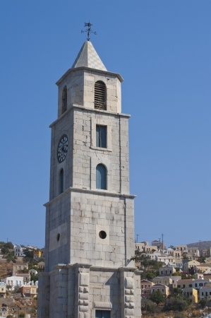 Clock tower in the island of Simi  Symi  in Greece