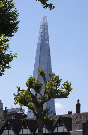 View of The Shard from the Tower of London with a blue sky Editorial