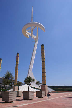 Communications tower designed by Santiago Calatrava, in Montjuic, Barcelona, Catalonia, Spain Editorial