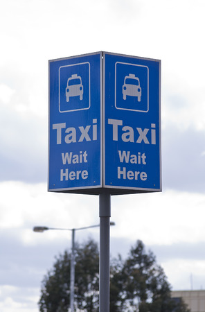 Taxi blue rank sign Stock Photo