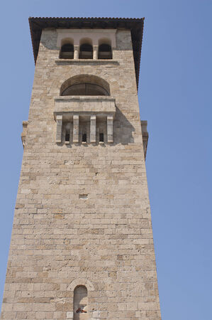 View of the tower of the Evangelismos Church in the island of Rhodes, Greece  Stock Photo