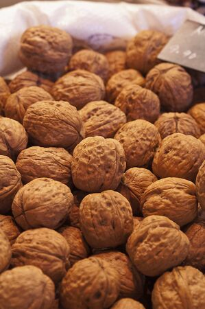 Close up of walnuts in a market stall Stock Photo