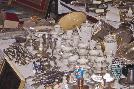 China and other antique objects in the Fira de Bellcaire also known as the Encants a flea market in Barcelona