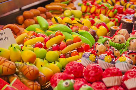Bright and colourful fruitshaped candy in a market