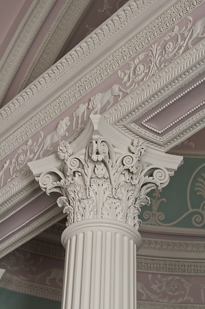 Detail of a corinthian column capital in the library, Kenwood House, England Stock Photo