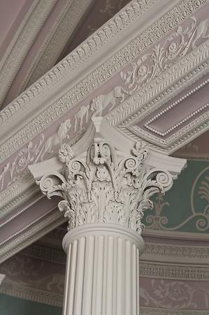 corinthian column: Detail of a corinthian column capital in the library, Kenwood House, England Stock Photo