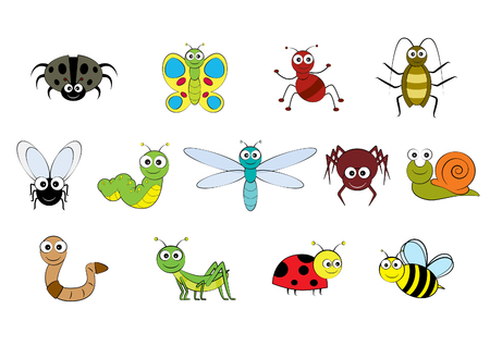 Vector cartoon-style illustration images of mini beasts, insects and small garden animals Illustration