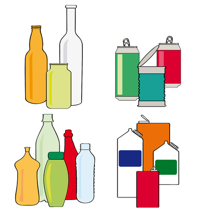Cartoon style vector illustrations of recycling household items, glass bottles and jars, cans, tins, plastic bottles and containers, and cartons