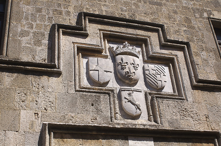 Coat of arms in the Avenue of the Knights, Rhodes, Greece Stock Photo
