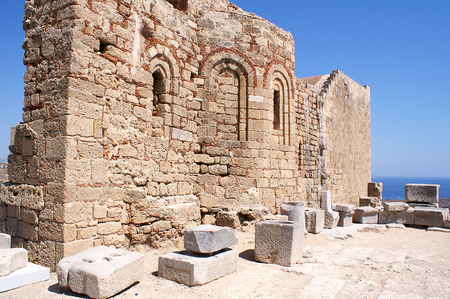 Ruins of the Church of St John on the Acropolis, Lindos, Rhodes, Greece
