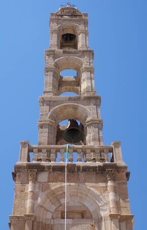 The bell tower Lindos, Rhodes, Greece Stock Photo