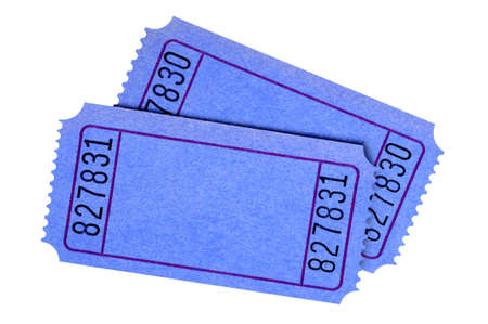 raffle ticket: Pair of blank blue tickets isolated on white background. Stock Photo